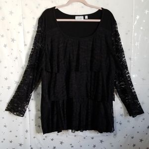 Avenue Black Tiered Lace Long Sleeve Top 22/24